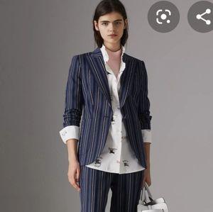 Auth Burberry London striped wool blend blazer